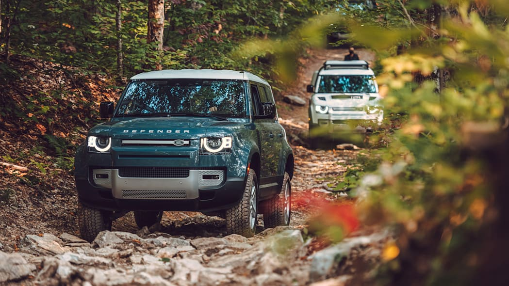 2020 Land Rover Defender blue group off road
