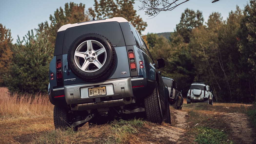 2020 Land Rover Defender blue group off road rear