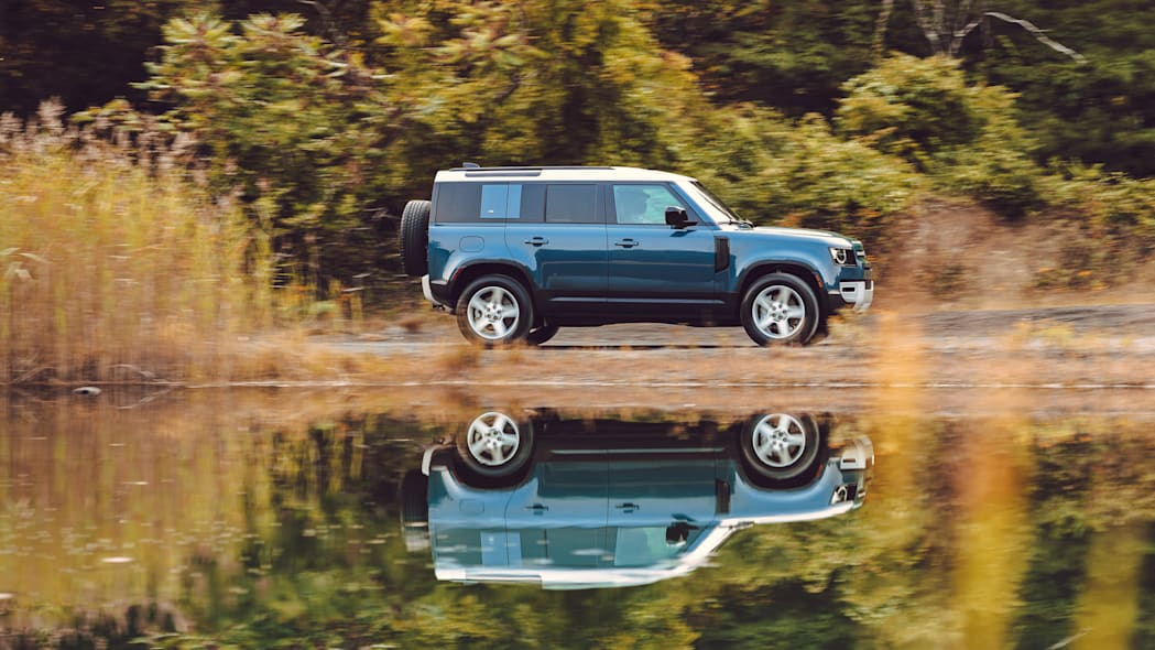 2020 Land Rover Defender blue reflection profile