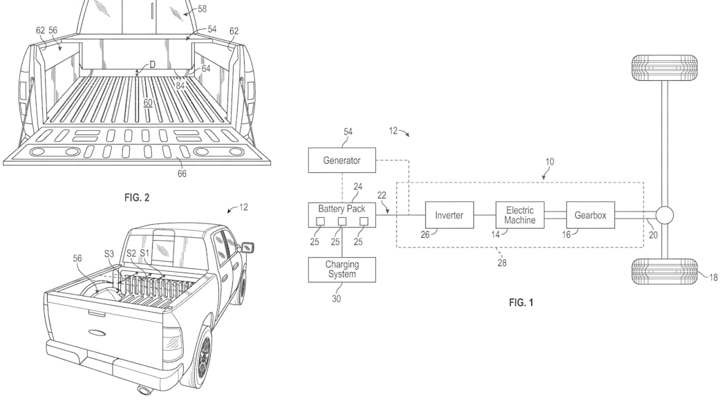 Ford F-150 electric range extender patent images