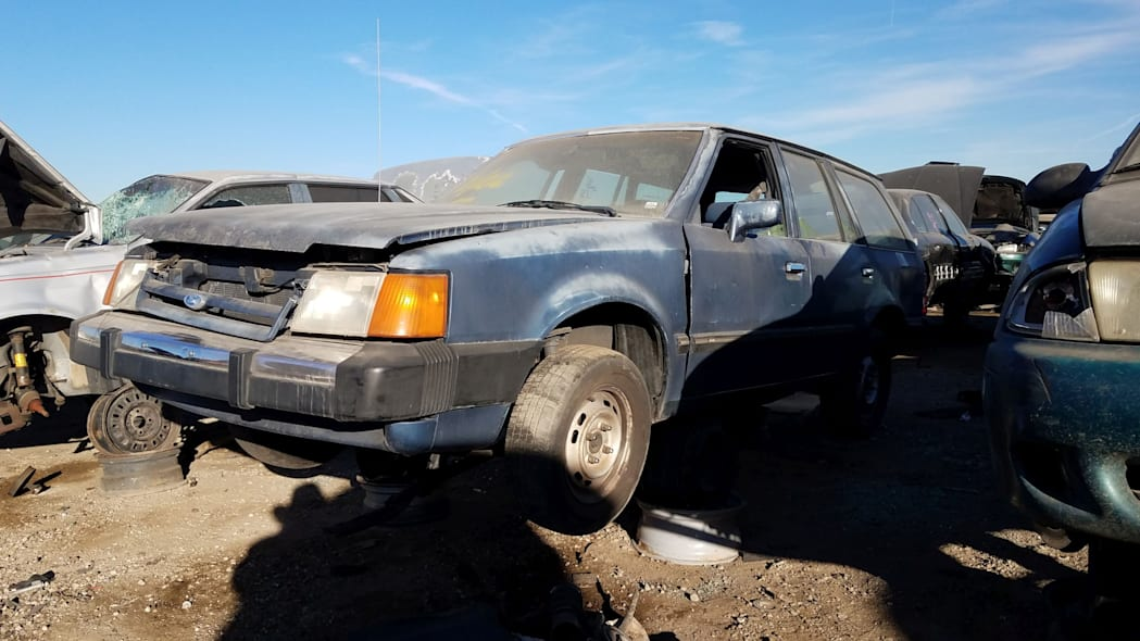 23 - 1987 Ford Escort station wagon in Colorado junkyard - photo by Murilee Martin
