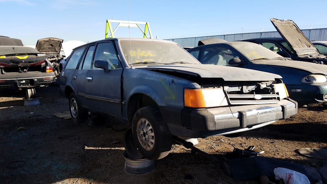 26 - 1987 Ford Escort station wagon in Colorado junkyard - photo by Murilee Martin