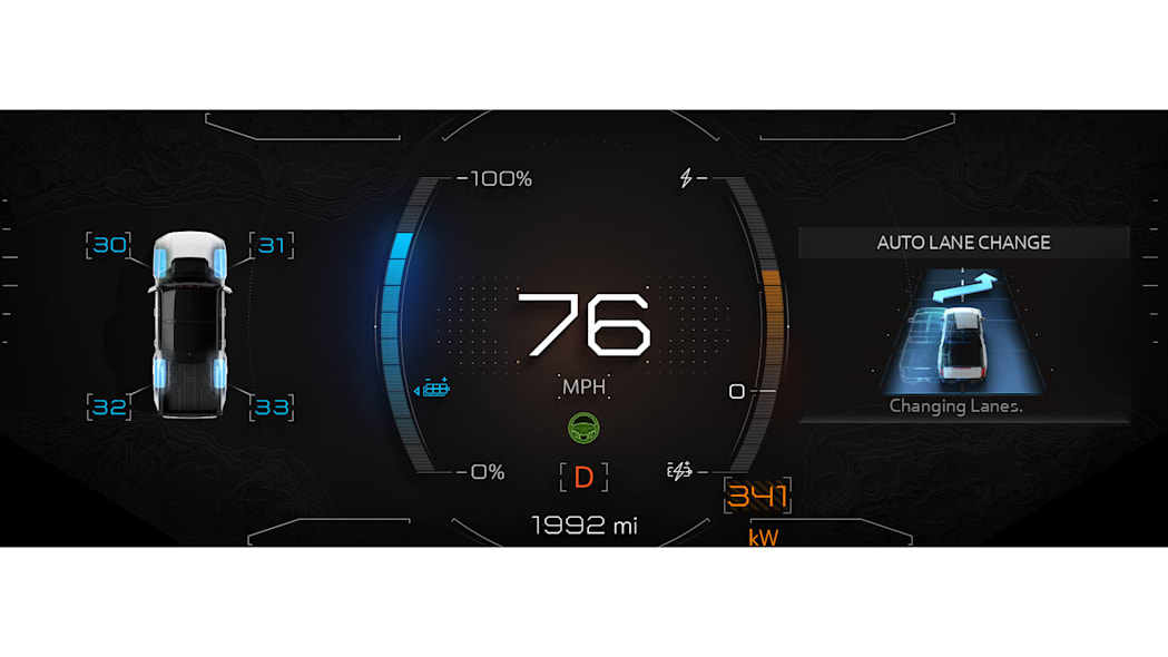 GMC HUMMER EVs graphic HMI displays make features and selections