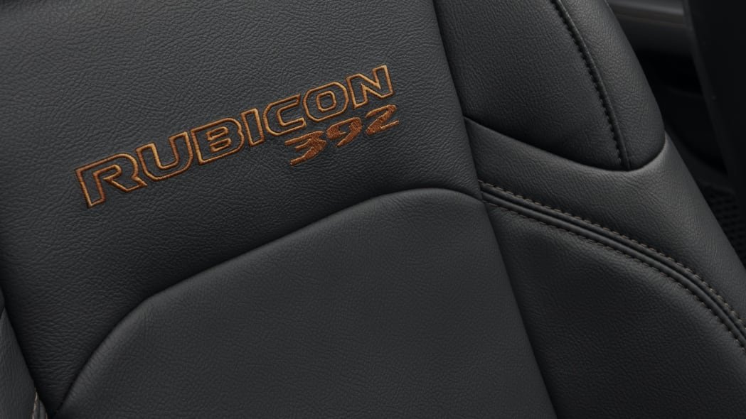 The Jeep® Wrangler Rubicon 392's leather-appointed interior, with unique Bronze stitching, includes seats with performance-inspired, integrated upper bolsters to hold comfortably occupants in place.