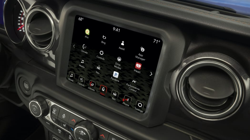 The Uconnect system with 8.4-inch screen is standard on the Jeep® Wrangler Rubicon 392.