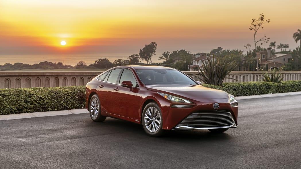 2021 Toyota Mirai red sunset