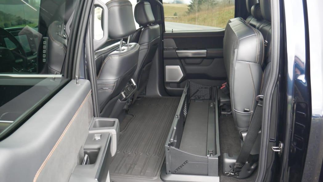 2021 Ford F-150 Super Crew Platinum PHEV back seat up bin up