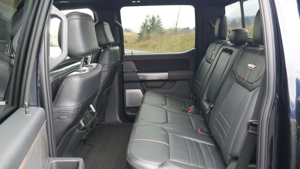2021 Ford F-150 Super Crew Platinum PHEV back seat