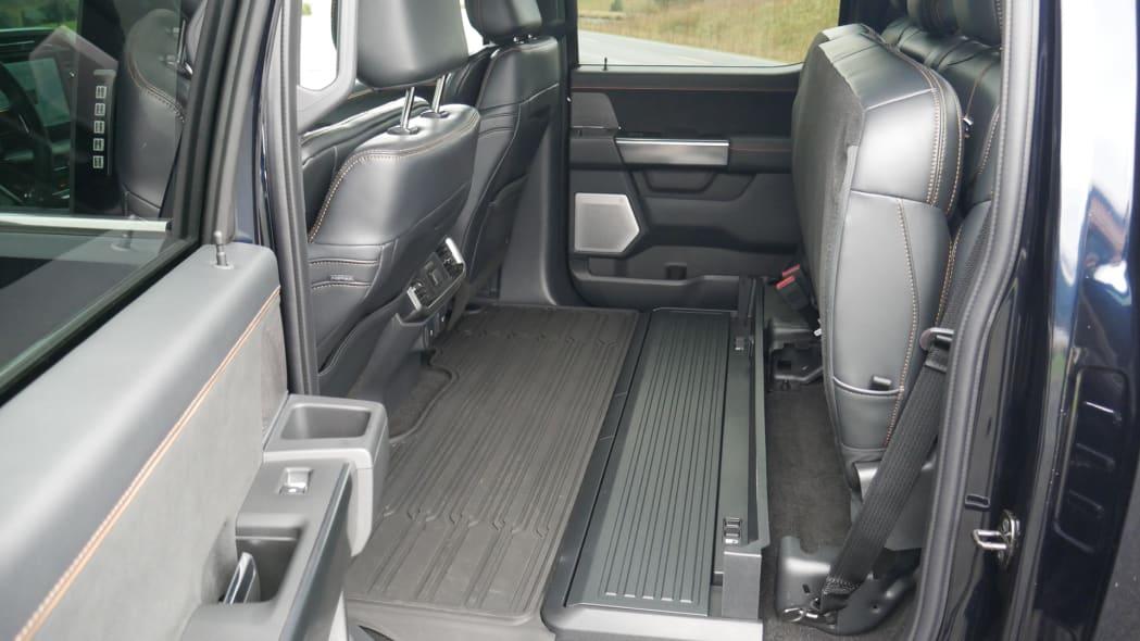 2021 Ford F-150 Super Crew Platinum PHEV backseat up bin down