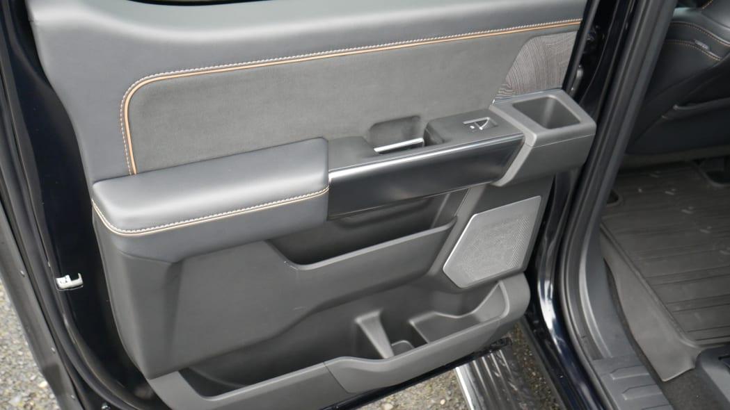 2021 Ford F-150 Super Crew Platinum PHEV rear door storage