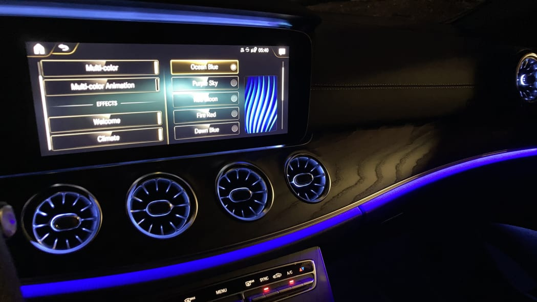 2021 Mercedes-Benz E450 Coupe Ambient Lighting Ocean Blue
