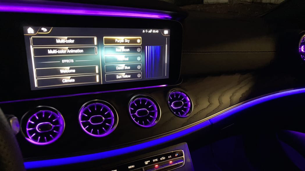 2021 Mercedes-Benz E450 Coupe Ambient Lighting Purple Sky