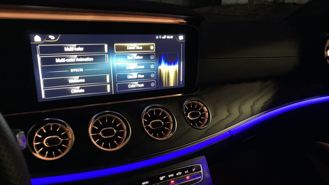 2021 Mercedes-Benz E450 Coupe Ambient Lighting Dawn Blue