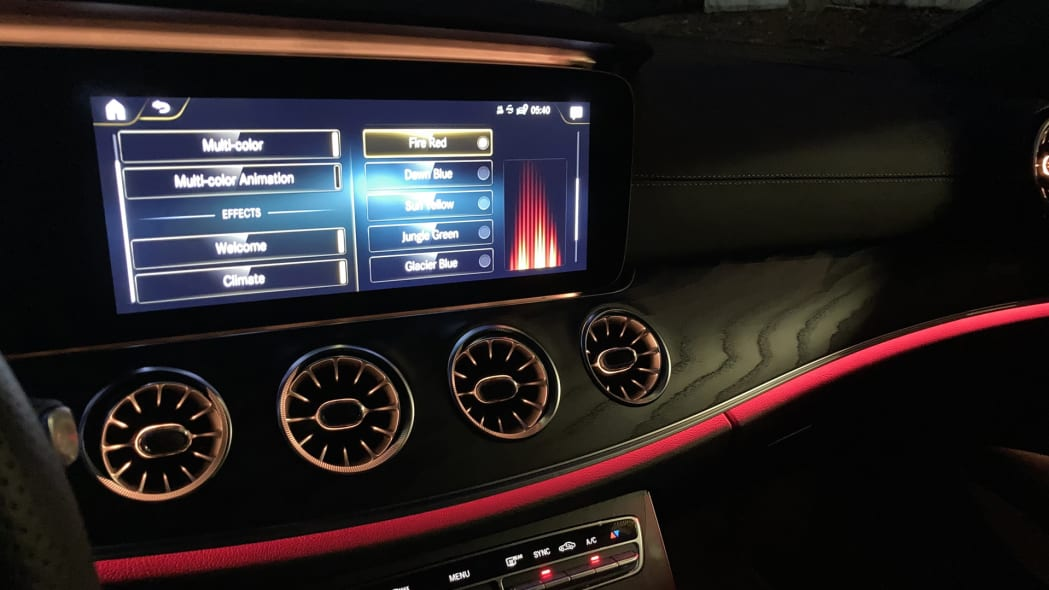 2021 Mercedes-Benz E450 Coupe Ambient Lighting Fire Red