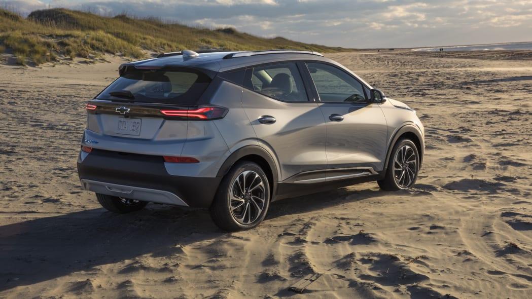 2022 Chevrolet Bolt EUV rear on sand