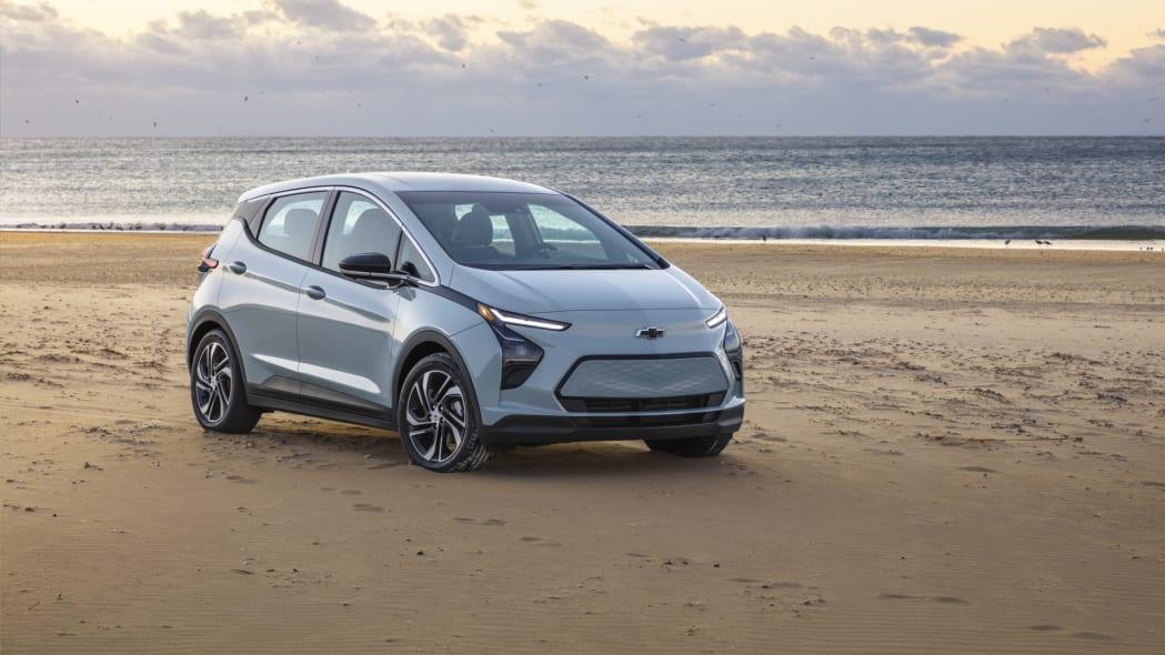 2022 Chevrolet Bolt EV front three quarter beach