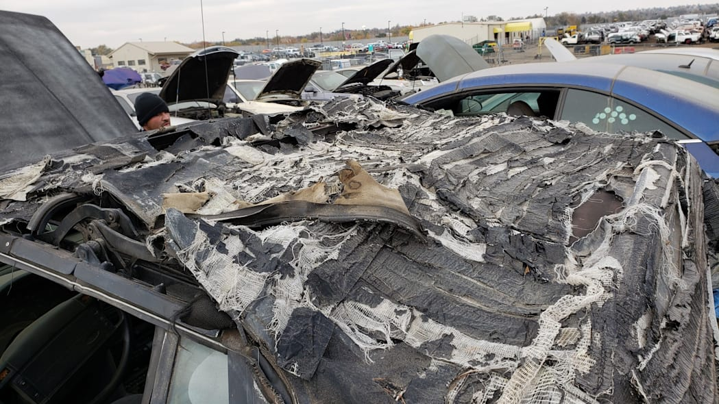 13 - 1993 Ford Mustang Convertible in Denver junkyard - photo by Murilee Martin