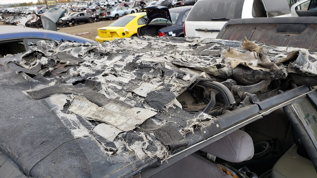 14 - 1993 Ford Mustang Convertible in Denver junkyard - photo by Murilee Martin