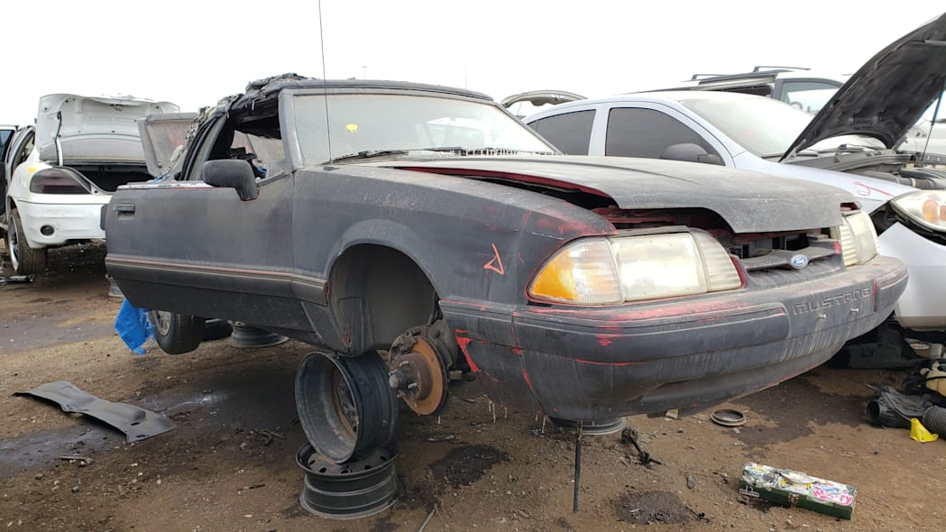 27 - 1993 Ford Mustang Convertible in Denver junkyard - photo by Murilee Martin