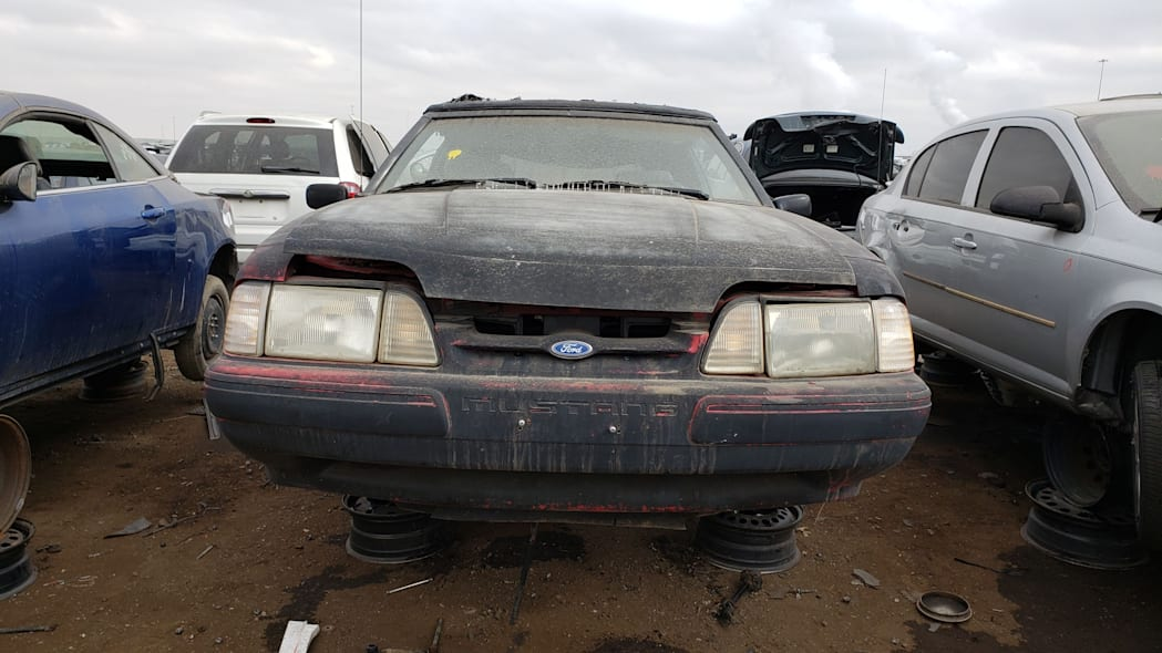 29 - 1993 Ford Mustang Convertible in Denver junkyard - photo by Murilee Martin