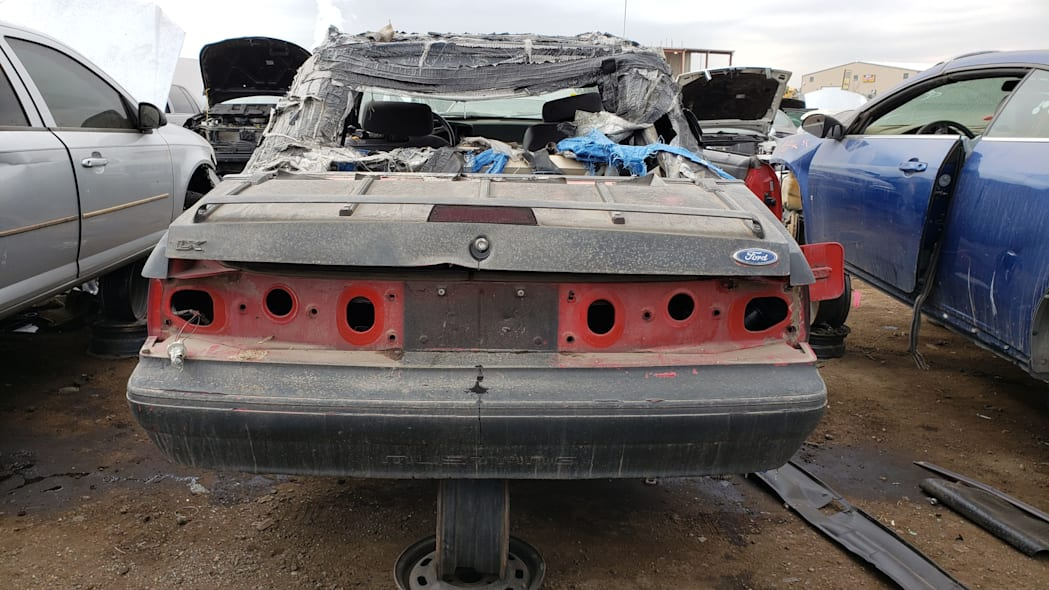 38 - 1993 Ford Mustang Convertible in Denver junkyard - photo by Murilee Martin