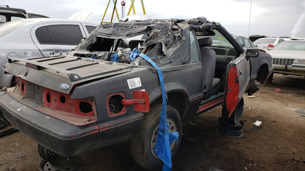 40 - 1993 Ford Mustang Convertible in Denver junkyard - photo by Murilee Martin