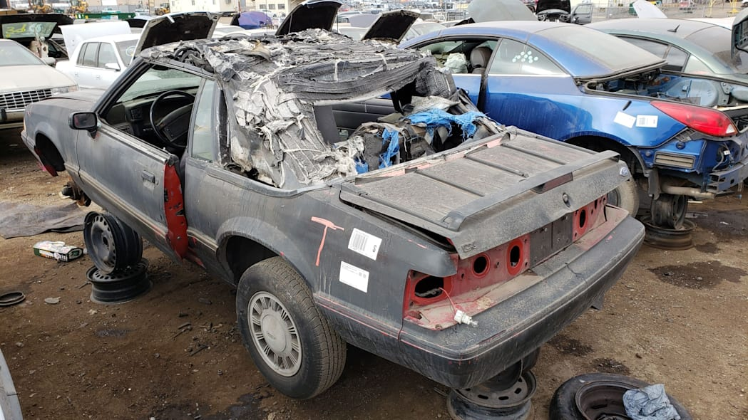 99 - 1993 Ford Mustang Convertible in Denver junkyard - photo by Murilee Martin