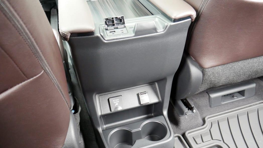 2021 Toyota Sienna interior center console rear power plugs