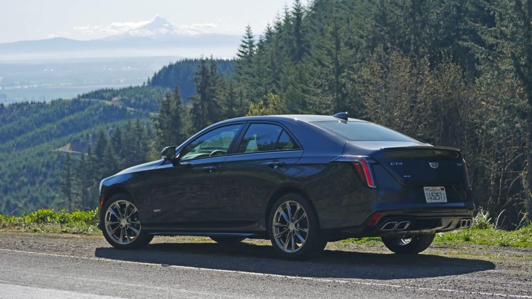 Cadillac CT4-V rear with Mt Hood