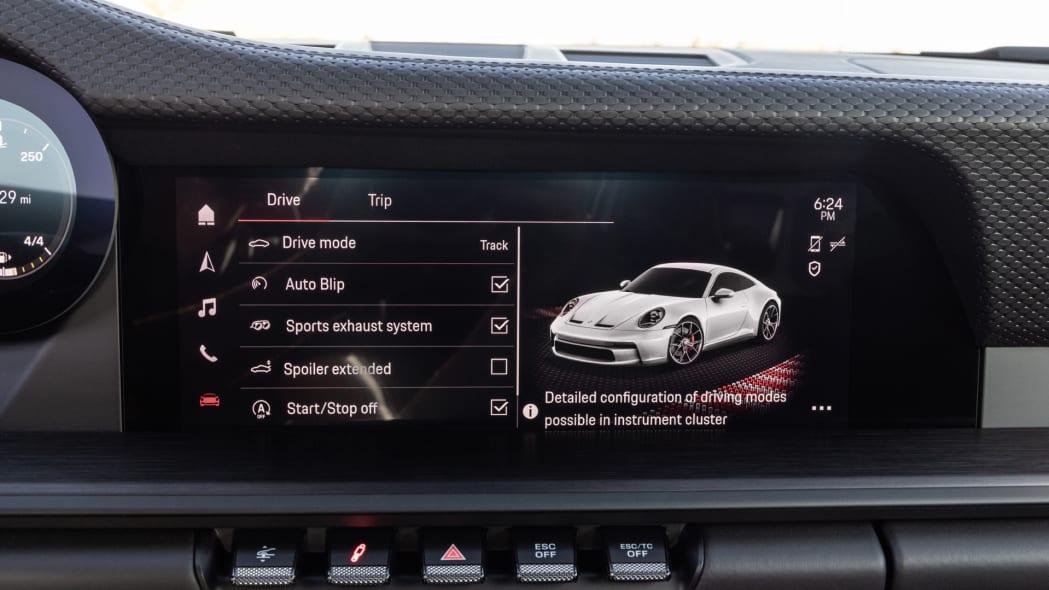 2022 Porsche 911 GT3 Touring vehicle control screen