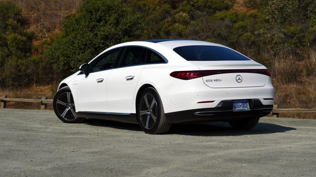 2022 Mercedes EQS 450+ rear three quarter