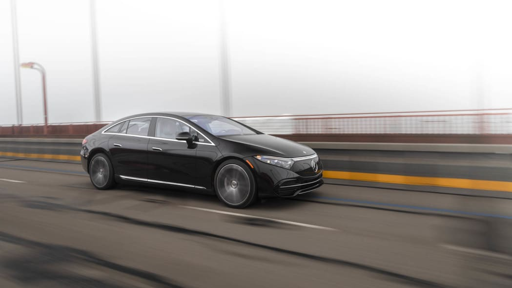 2022 Mercedes EQS 450+ Golden Gate front three quarter