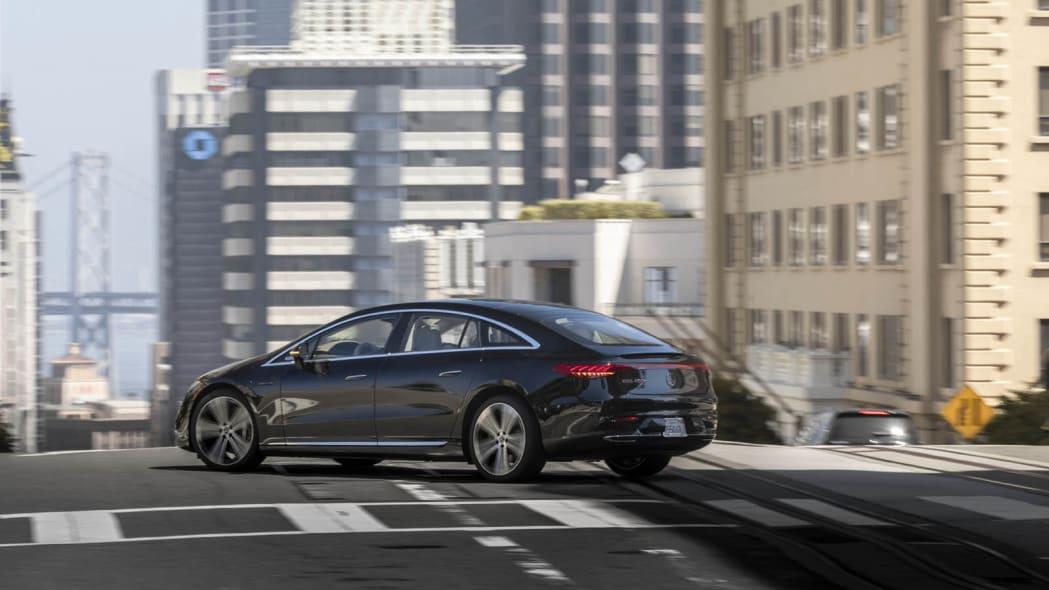 2022 Mercedes EQS 450+ action city corner