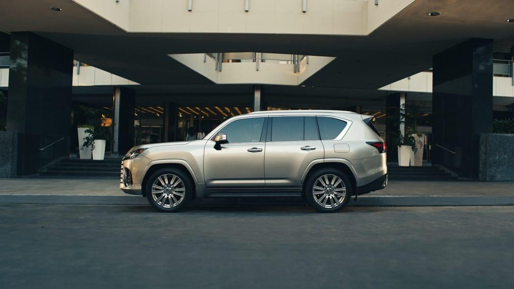 2022 Lexus LX 600 Ultra Luxury profile parked at hotel