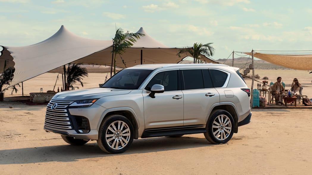 2022 Lexus LX 600 Ultra Luxury profile parked next to a desert tent