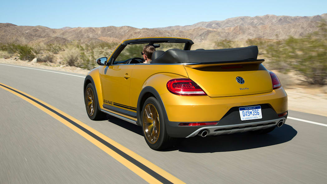 vw beetle dune convertible rear three quarters