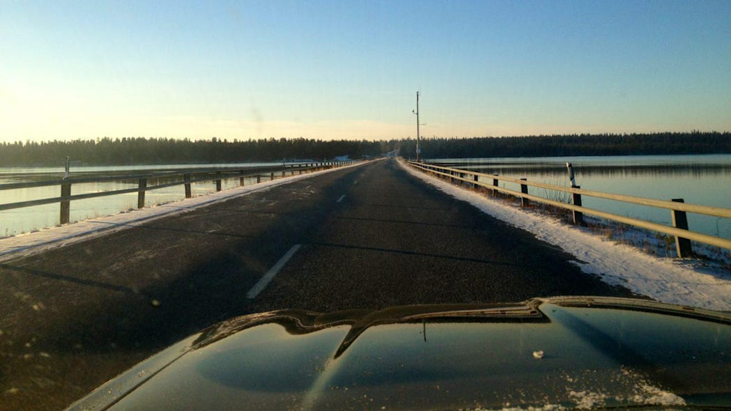 Crossing a reservoir in Lapland.