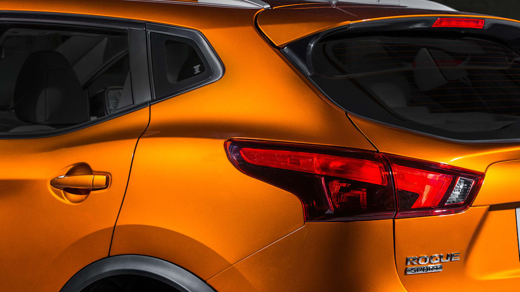 The 2017 Nissan Rogue, unveiled at the 2017 Detroit Auto Show, rear left corner.