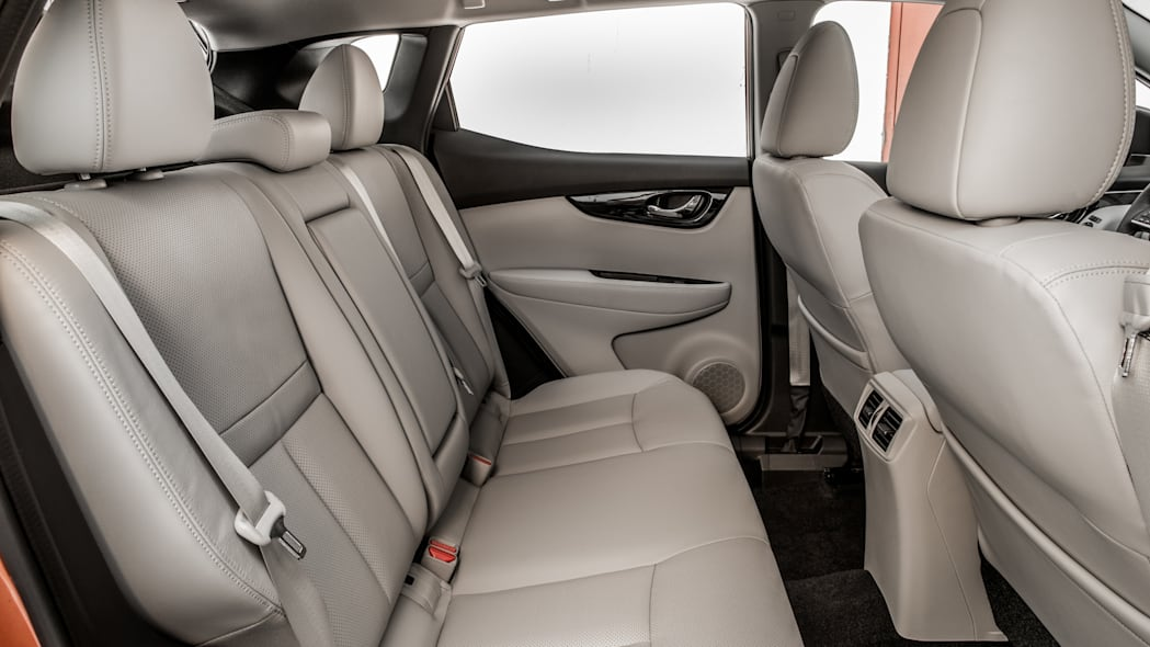 The 2017 Nissan Rogue, unveiled at the 2017 Detroit Auto Show, rear seats.