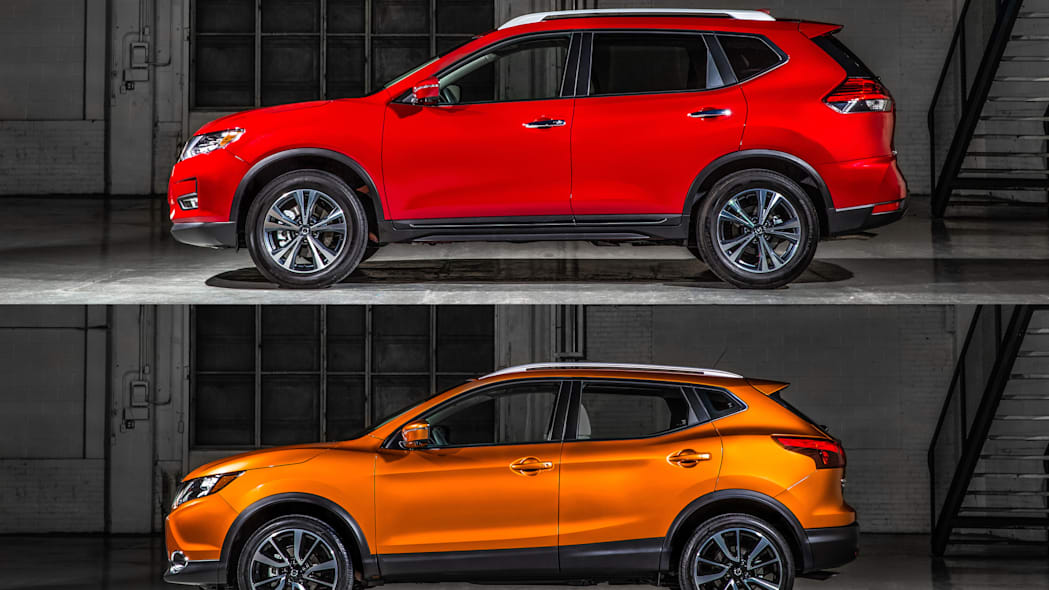The 2017 Nissan Rogue, unveiled at the 2017 Detroit Auto Show, shown in comparison to the 2017 Rogue.