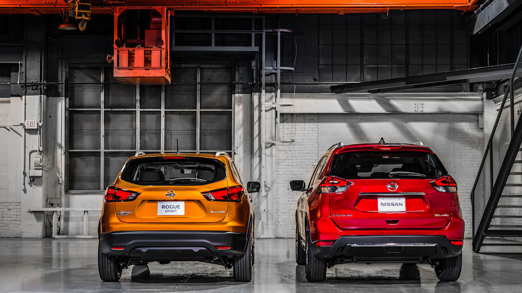 The 2017 Nissan Rogue, unveiled at the 2017 Detroit Auto Show, shown next to the standard 2017 Rogue.