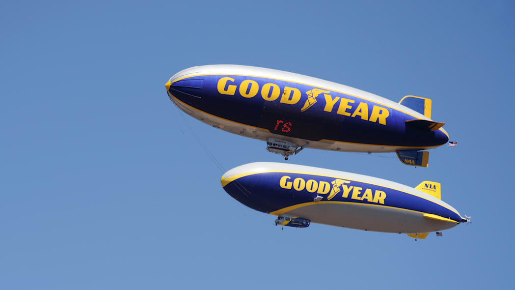 Goodyear blimp and Goodyear Zeppelin in the air