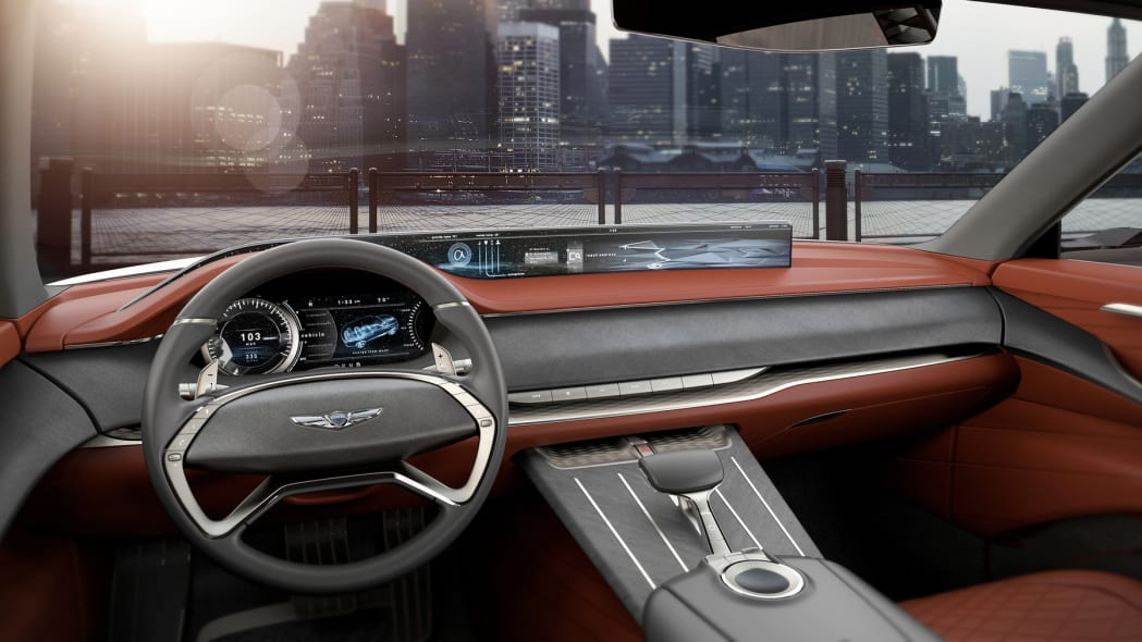 A rendering of the interior of the Genesis GV80 concept SUV revealed at the 2017 New York Auto Show.