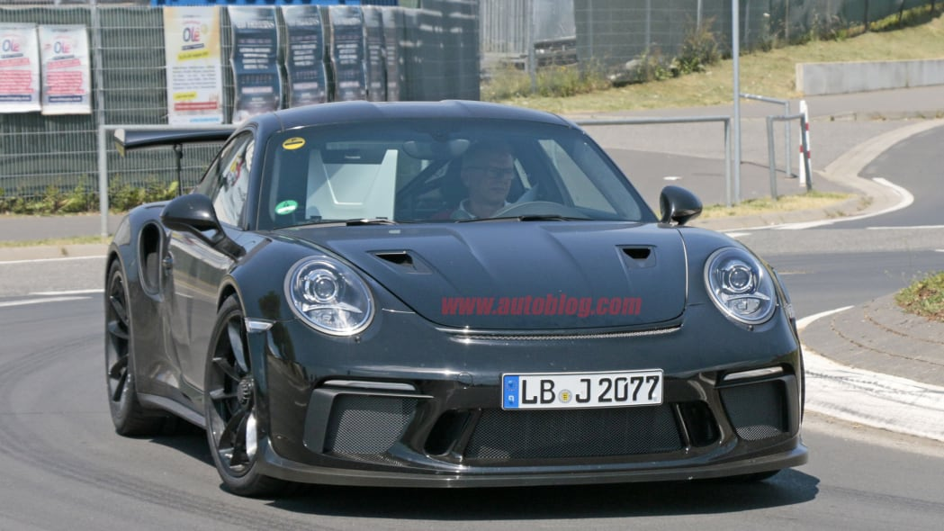 Porsche 911 GT3 RS spotted on the road with GT2 RS hood ducts