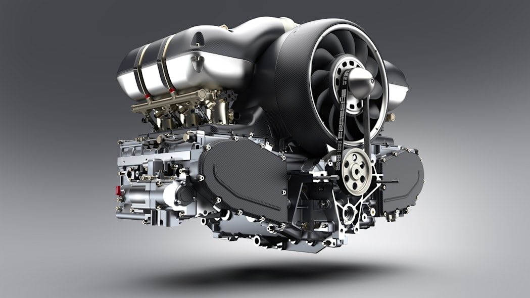 Porsche 4.0L air-cooled flat-six with 4-valve cylinder heads, showing carbon fiber airbox and fan shroud with CFD-optimized and enlarged fan. Restored and modified by Singer Vehicle Design and Williams Advanced Engineering.
