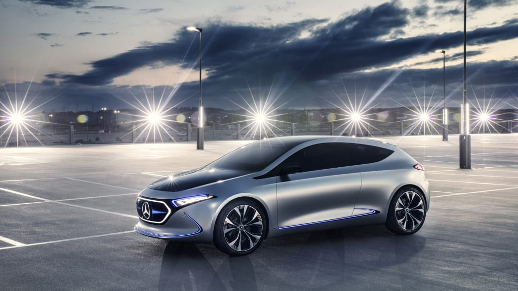 Mercedes Concept EQA revealed at the 2017 Frankfurt Motor Show, front three-quarter.