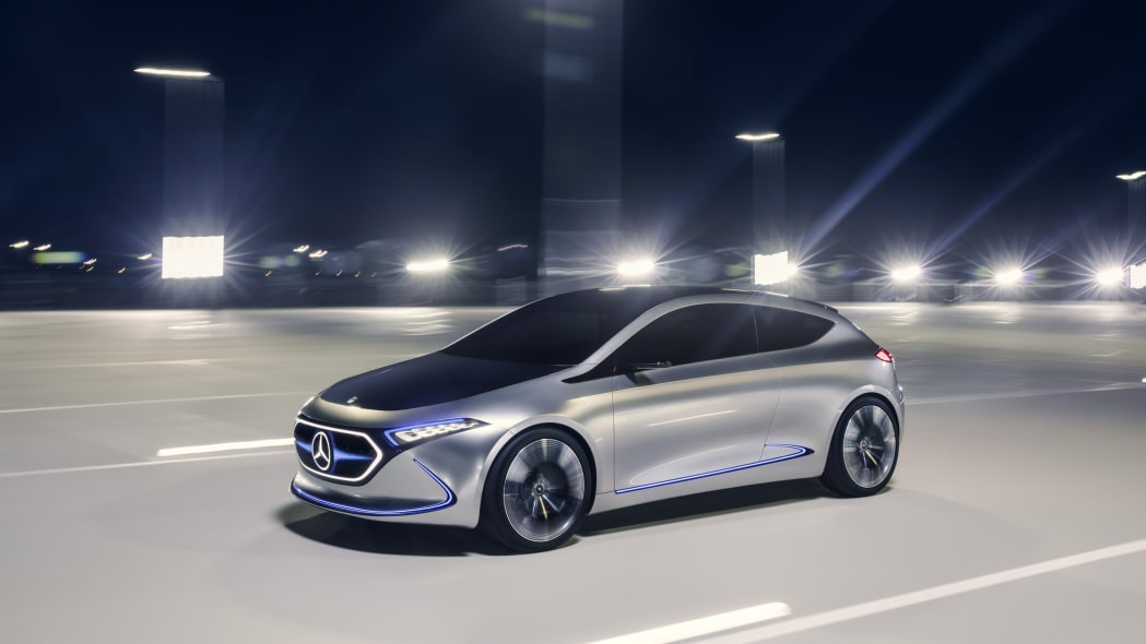 Mercedes Concept EQA revealed at the 2017 Frankfurt Motor Show, dynamic front three-quarter.