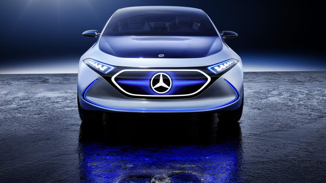 Mercedes Concept EQA revealed at the 2017 Frankfurt Motor Show, static front shot with wing graphic.