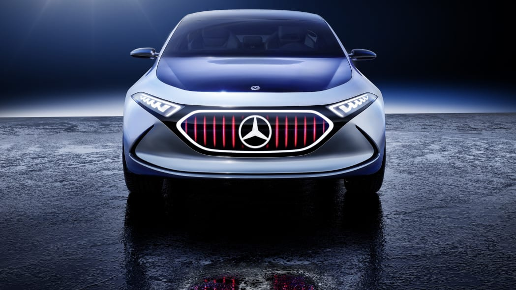 Mercedes Concept EQA revealed at the 2017 Frankfurt Motor Show, static front shot with Panamerica grille graphic.