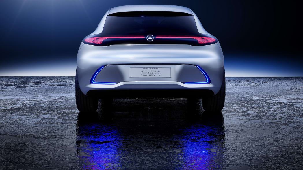 Mercedes Concept EQA revealed at the 2017 Frankfurt Motor Show, rear.